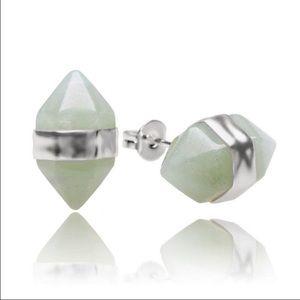 Aventurine double point earrings (silver)